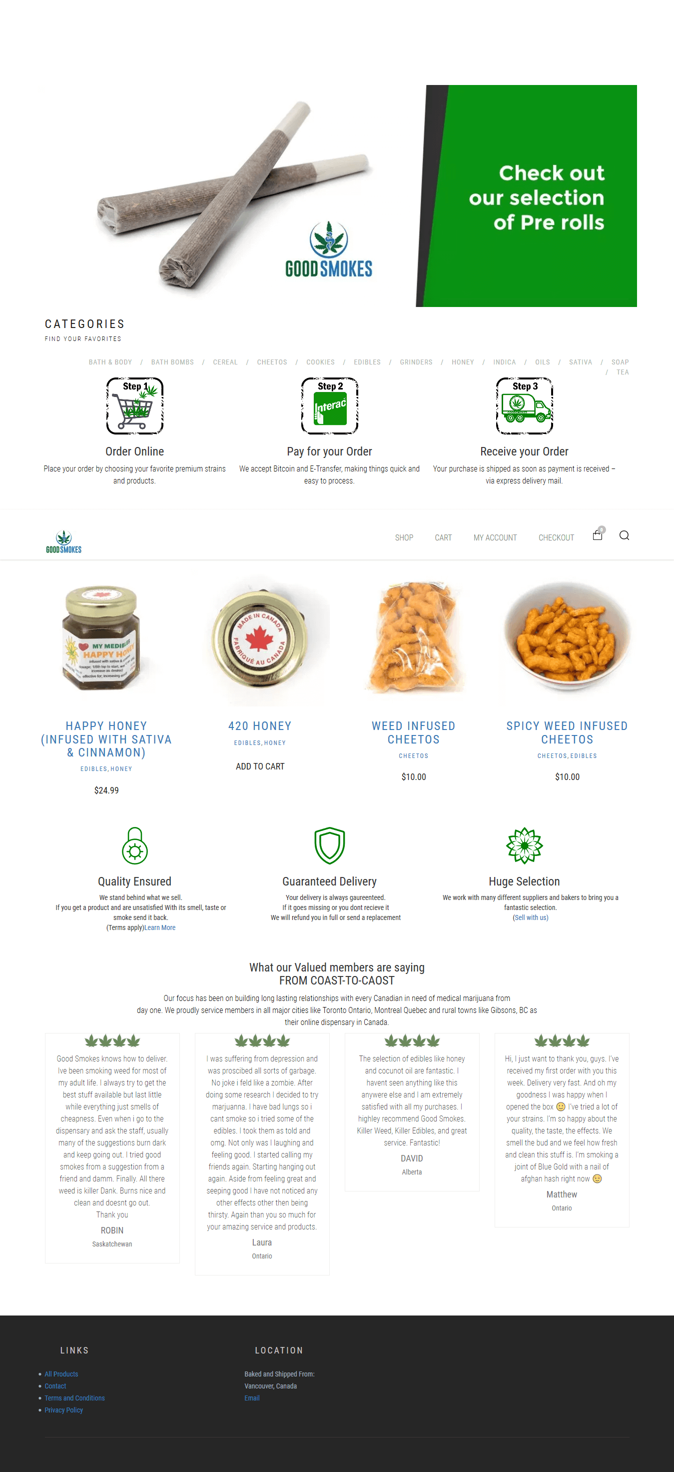 A full page screenshot for goodtokes.ca website