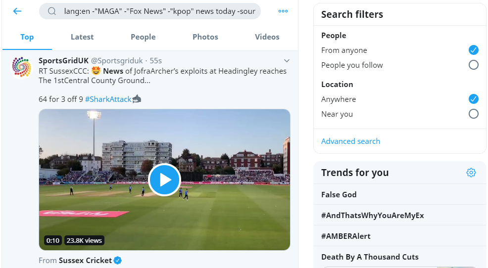 screenshot showing twitter search filters